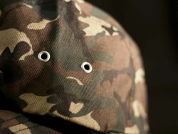 Custom Camo Printed 5 Panel Cap with woven label and printed taping.