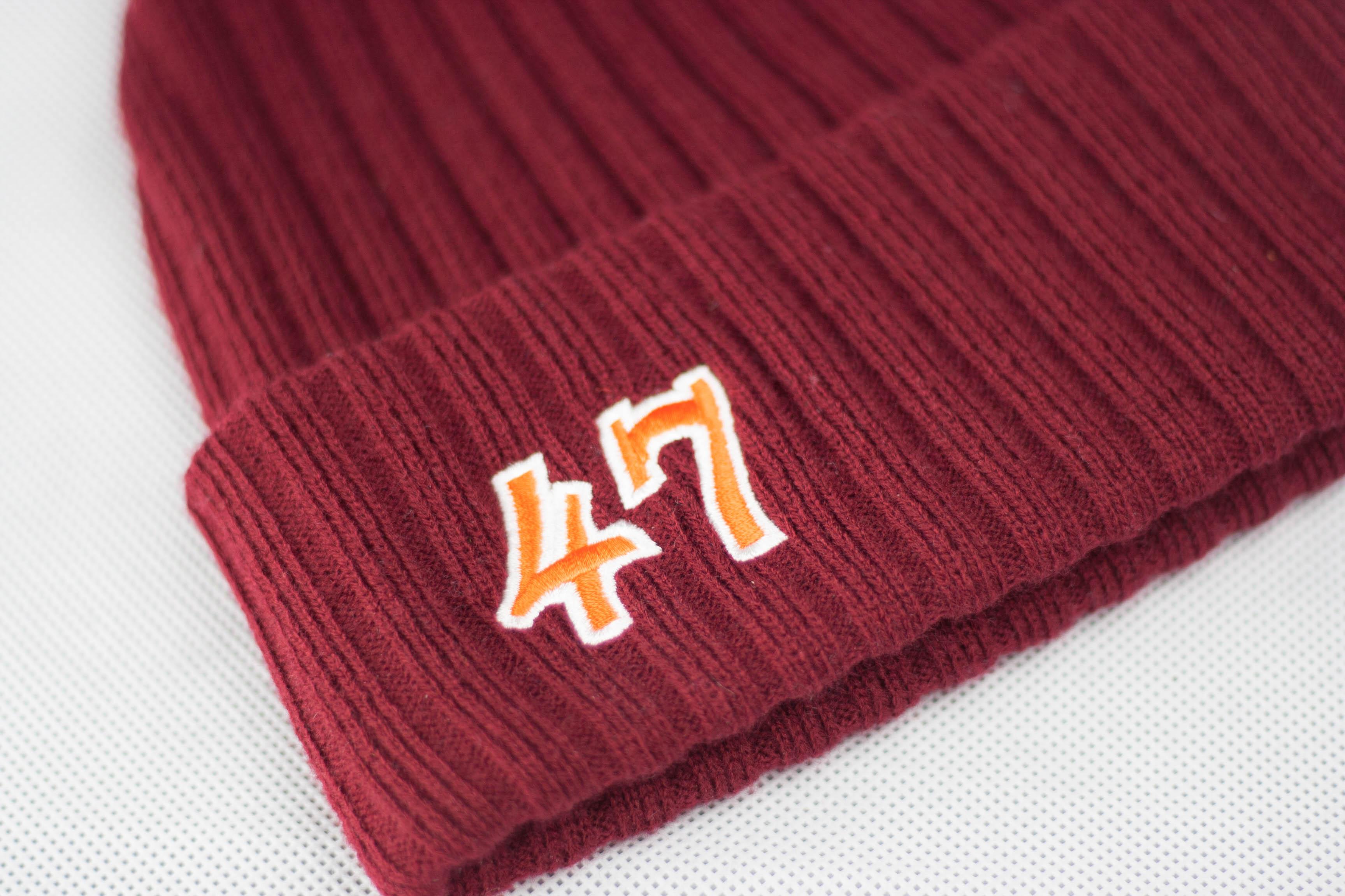 Maroon Ribbed Knit Beanie Detail