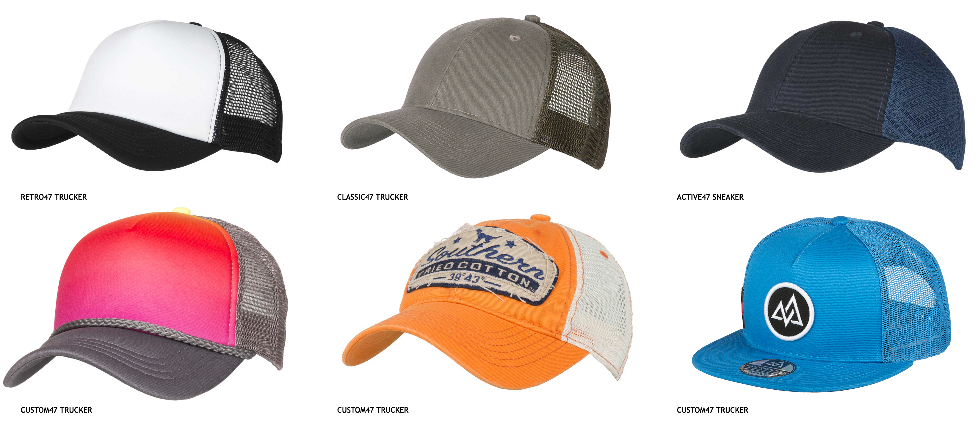 STOCK AND BESPOKE TRUCKER CAPS